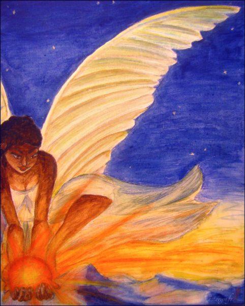 Peinture ange de l'aube