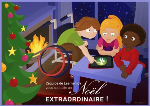 illustration vectorielle pour Learnenjoy - carte numérique de joyeuses fêtes