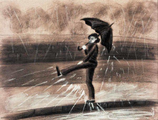 singing in the rain illustration